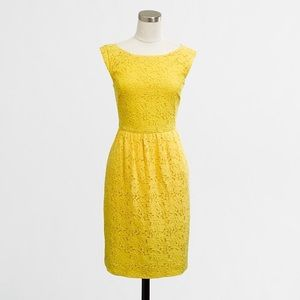 J. Crew Bright Yellow Floral Lace Boat Neck Dress